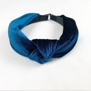 2/$25 Velvet Knotted Headband - Blue